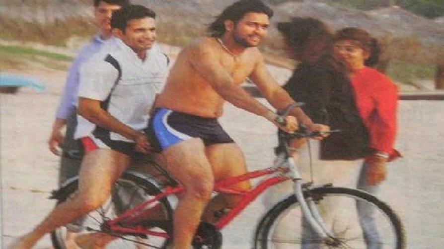 Dhoni riding cycle