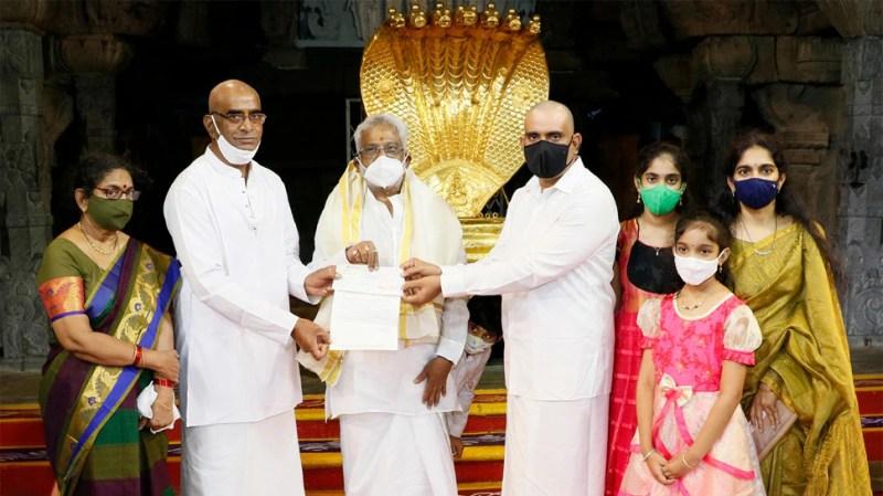 Paramesu Bio-tech donated Rs 1 crore to Tirumala temple