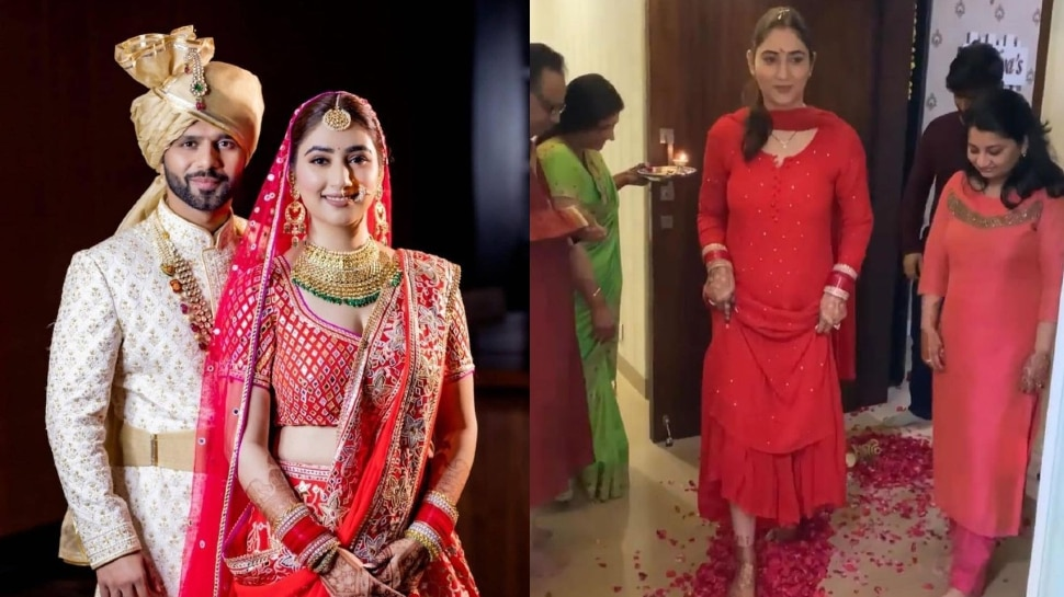 Rahul Vaidya And Disha Parmar Return to Home after getting married |  Disha Parmar reached her in-laws' house after celebrating marriage, mother-in-law entered the house like this