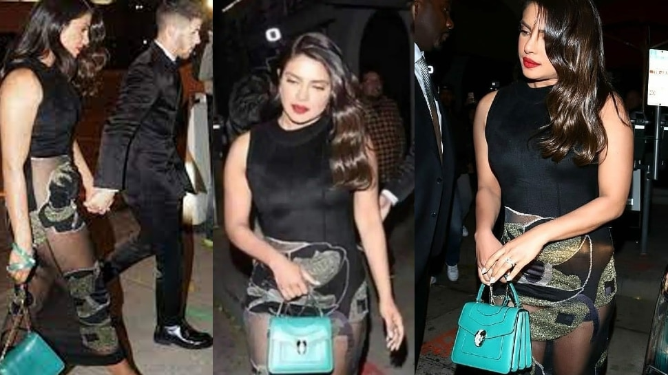 Priyanka Chopra Reached In A Dinner Party Wearing Transparent Dress, Small Bag saved Her From Oops Moment |  When Priyanka Chopra reached the party wearing a transparent dress, the chutku bag saved the shame!