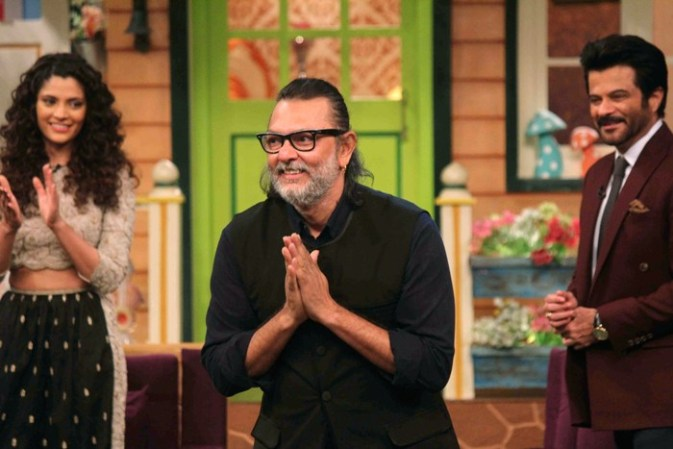 Bollywood filmmaker Rakeysh Omprakash Mehra with actor Saiyami Kher and Anil Kapoor during the promotion of film Mirzya on the sets of The Kapil Sharma Show in Mumbai, India on September 30, 2016.(Utsav Devdutta/SOLARIS IMAGES)