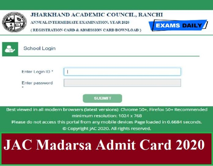JAC Madarsa Admit Card 2020 Out – Download 1012th Class Hall Ticket Here!!!