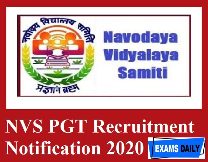 NVS PGT Notification 2020 Out – Check Eligibility Details Here!!!!