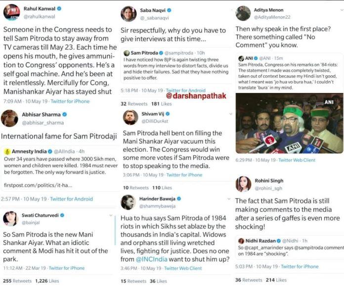 सैम पित्रौदा, पत्रकारों की टिप्पणी