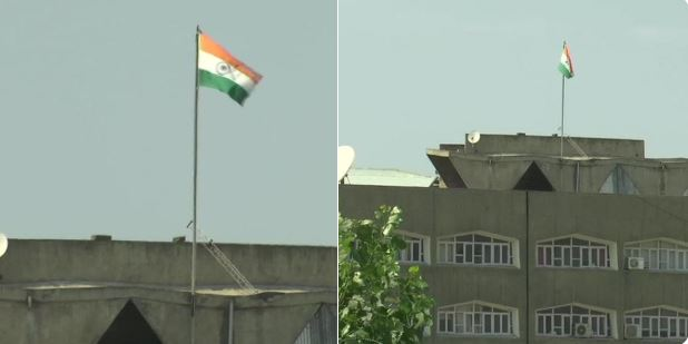 श्रीनगर सचिवालय पर तिरंगा