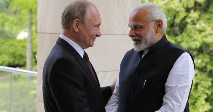 भारतीय प्रधानमंत्री और रूस राष्ट्रपति पुतिन