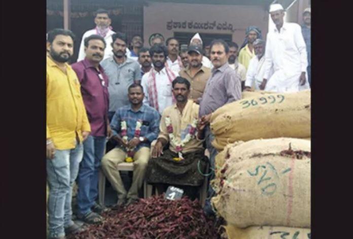 आंध्र प्रदेश के किसान को कर्नाटक स्थित एशिया के सबसे बड़े मिर्च मार्केट में सबसे ज़्यादा दाम मिला
