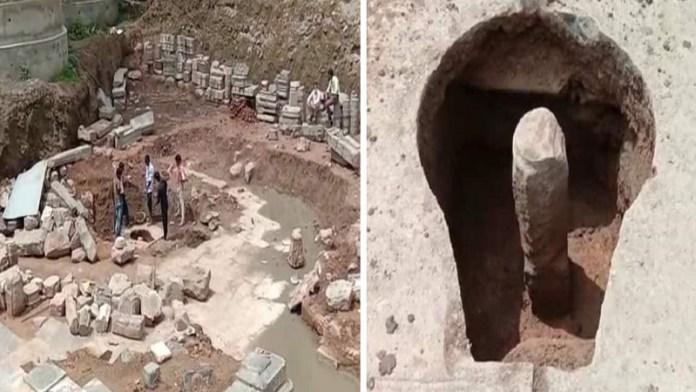 उज्जैन के महाकाल मंदिर परिसर में खुदाई, मिला शिवलिंग और भगवान विष्णु की मूर्ति