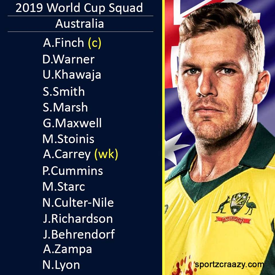 2019 वर्ल्डकप के लिए ऑस्ट्रेलिया की टीम
