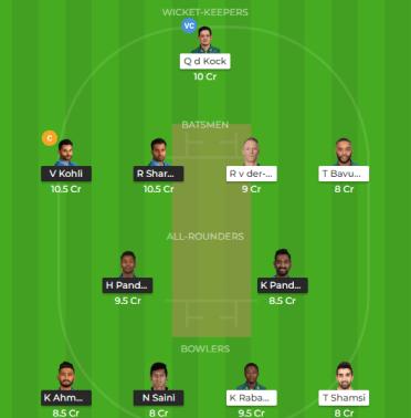 IND vs SA 1st T20I Dream 11