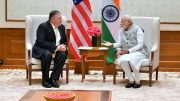 Narendra Modi with Mike Pompeo