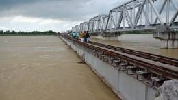 Bihar Flood rail track near Darbhanga