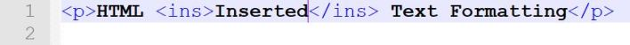 inserted text HTML