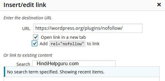 add nofollow links to wordpress