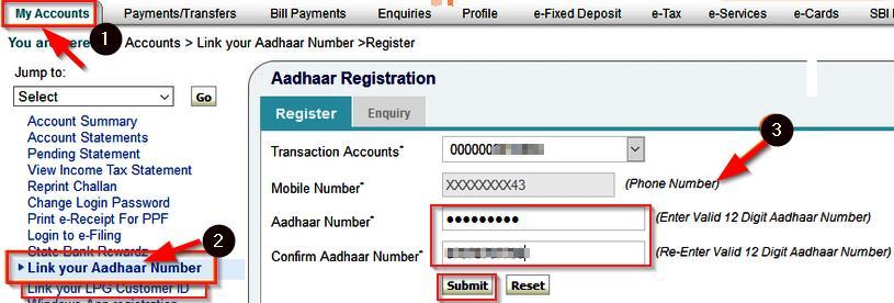 link aadhaar card to sbi bank account