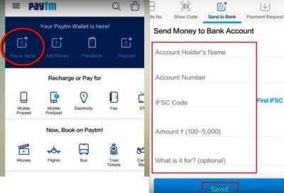 paytm to bank account money transfer