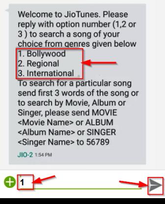 jio caller tune song Selection