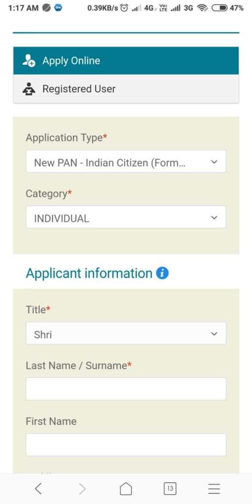 pan card apply page