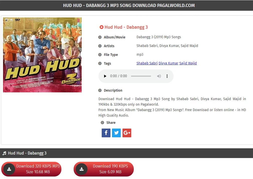 HUD HUD - DABANGG 3 MP3 SONG DOWNLOAD PAGALWORLD