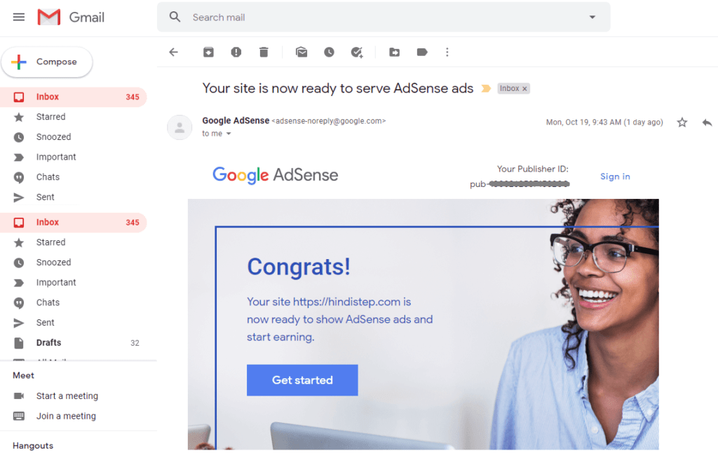 Google Adsense Approval Confirmation Email Message4