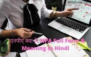 एनपीए क्या है NPA Full Form & Meaning in Hindi