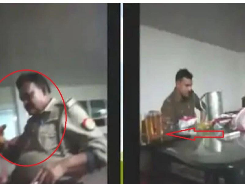 कानपुर: चौकी में बैठकर पुलिस की वर्दी में शराब पी रहे दरोगा का वीडियो वायरल