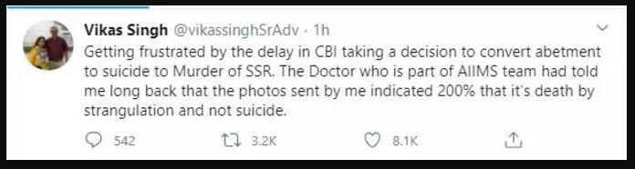 वकील का दावा Aiims के डॉक्टर ने कहा गला दबाकर हुई है सुशांत की हत्या