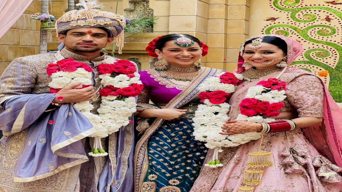 कंगना रनौत ने किया अपनी भाभी का स्वागत, सामने आईं शादी की तस्वीरें