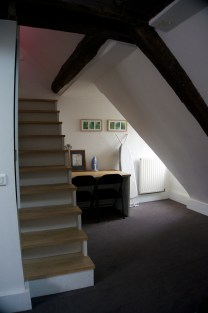 Stairs to the loft. Little getting ready area that I took over :)