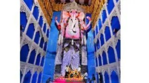 58 feet Ganesh idol in Vizag Gajuwaka