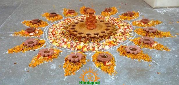 Diwali Rangoli Design I - Rounded for Front Door with Lakshmi in Center