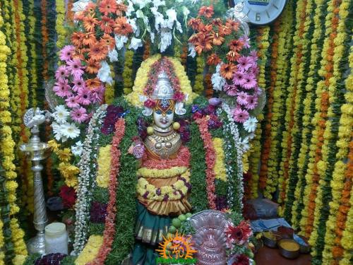 Bhagyalakshmi Mata in Hyderabad – decorated with flowers