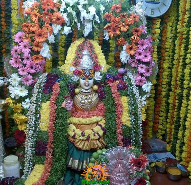 Bhagyalakshmi Mata in Hyderabad - decorated with flowers