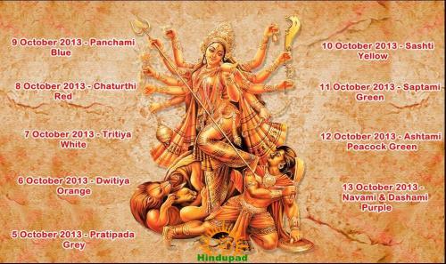 Navratri calendar 2013 with colors