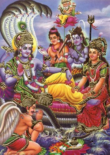Lord Vishnu with Shiva Garuda Brahma
