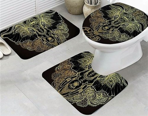 Indian God Ganesha Elephant Bath Mat Set by My Diva Baby