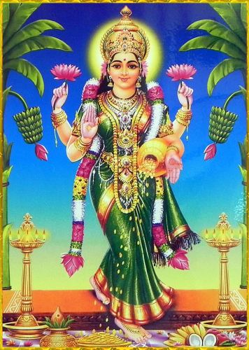 Welcome Lakshmi in to home Standing Lakshmi Devi