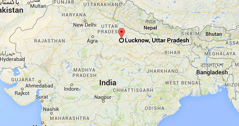 Lucknow on India Map
