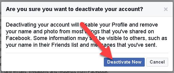 Facebook Account Deactivate