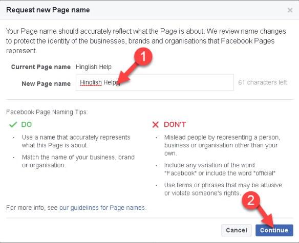 Facebook Fan Page Ka Name Kaise Change Kare Computer Or