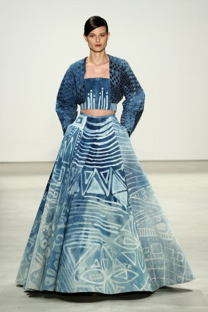 NEW YORK, NY - SEPTEMBER 10: A model walks the runway at the Supima Design Competition fashion show during Spring 2016 New York Fashion Week: The Shows at The Gallery, Skylight at Clarkson Sq on September 10, 2015 in New York City. (Photo by Neilson Barnard/Getty Images for Supima Cotton)