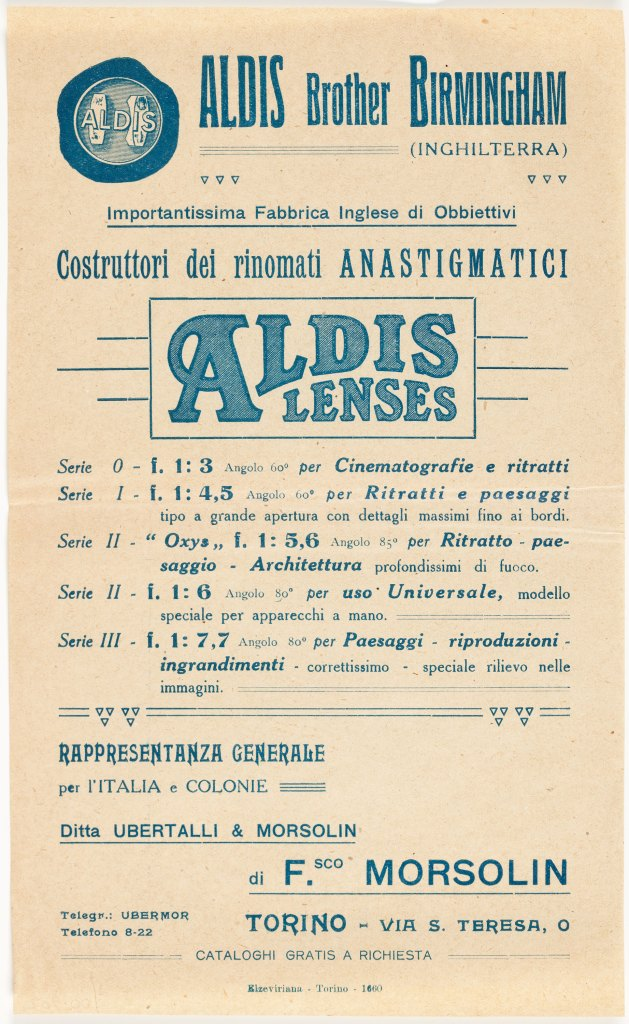 Advertising leaflet for a distributor of Aldis lenses in Italy and its colonies, describing Anastigmat series 0 - III. Held by Museum Victoria in Melborne, Australia.