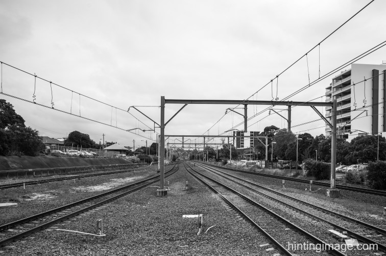 Trainline blacka and white photo