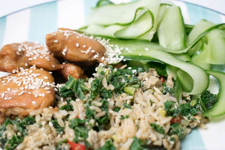 Sticky sesame chicken with egg & kale rice by Mindful Chef