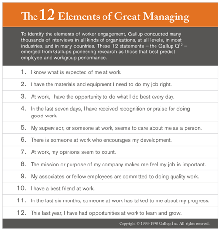 Gallup's Management Assessment Questions