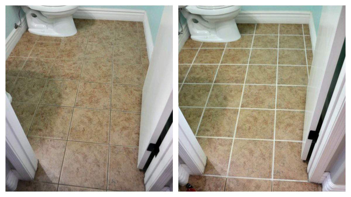 before and after comparison of a small bathroom tile and grout