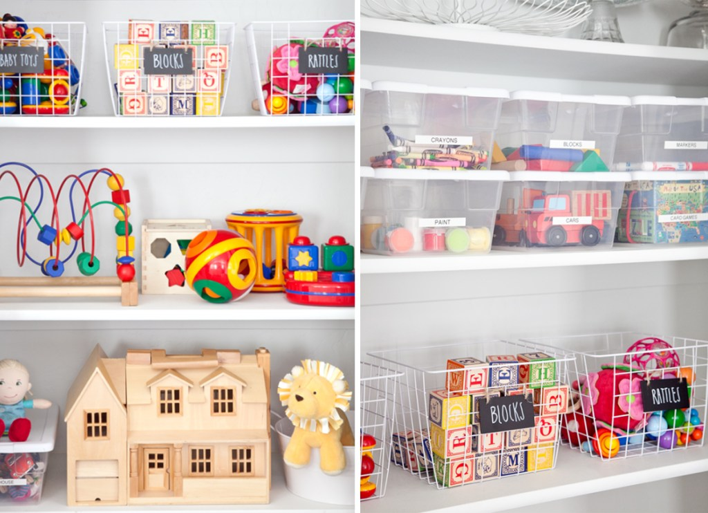 label bins in closet to organize kids toys