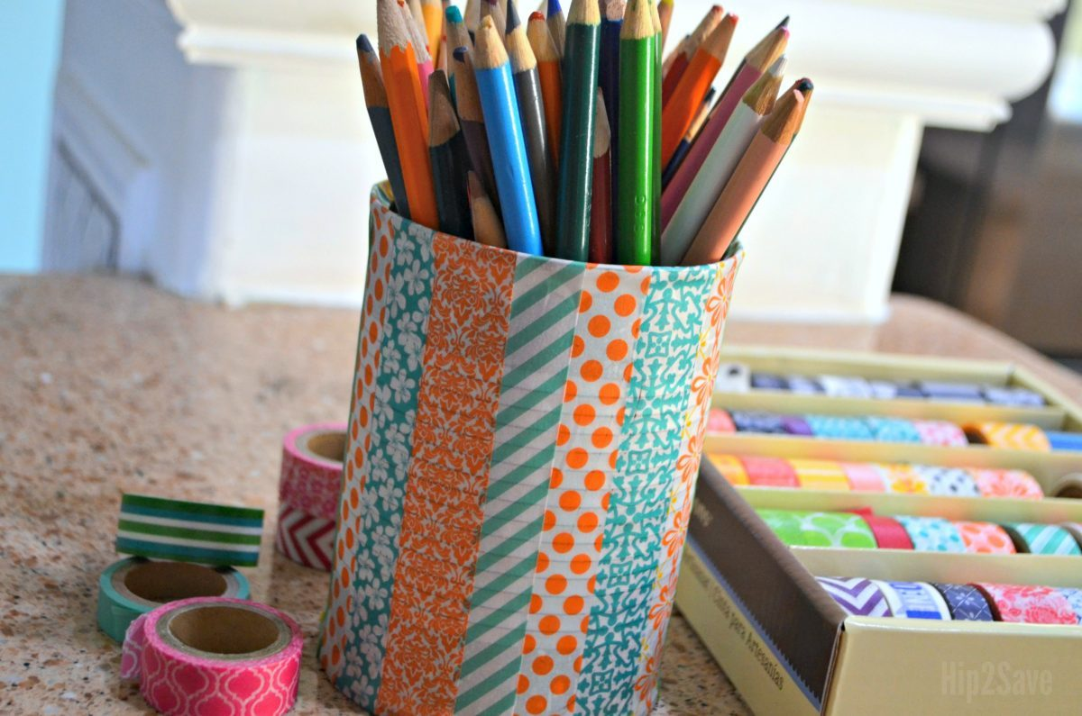 ways to repurpose trash – washi tape on a tin can holding pencils