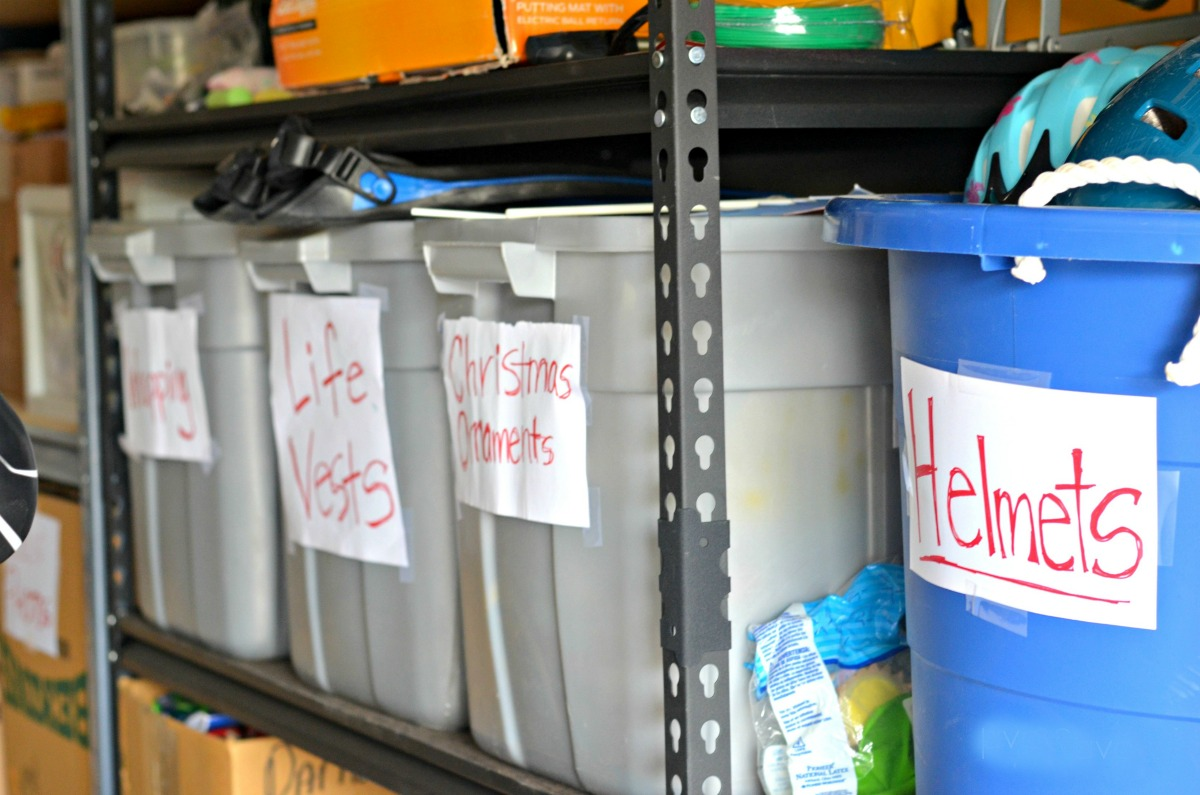 storage buckets marked with contents inside