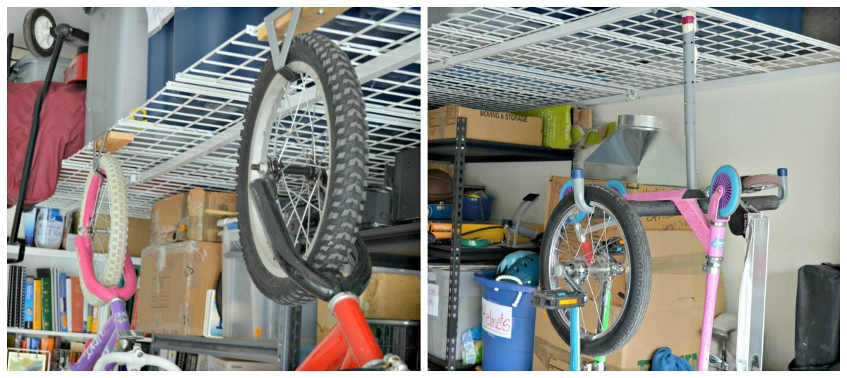 hanging shelves with bikes and tires